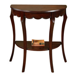 All Things Cedar - Half Moon Console Table - Classic Accents: A truly inviting selection of Classic Accent Furniture FEATURING Console Sofa Tables Wooden Wine Magazine Racks, Nesting Tables, and Glass Cherry Curio Cabinates. Item is made to order.