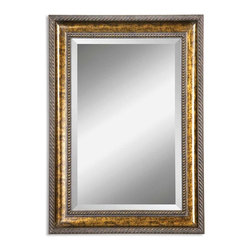 "Uttermost - Uttermost Sinatra, Vanity Mirror - Frame features a hand applied gold leaf undercoat with blotched brown stain, black speckling and a dark gray glaze. Mirror has a generous 1 1/4"" bevel."