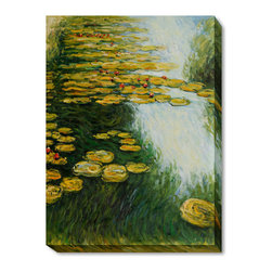 "overstockArt.com - Monet - Water Lilies (Yellow and Green) Oil Painting - 30"" x 40"" Oil Painting On Canvas Hand painted oil reproduction of a famous Monet painting, Water Lilies (Yellow and Green). Today it has been carefully recreated detail-by-detail, color-by-color to near perfection. Why settle for a print when you can add sophistication to your rooms with a beautiful fine gallery reproduction oil painting? While Monet successfully captured life's reality in many of his works, his aim was to analyze the ever-changing nature of color and light. Known as the classic Impressionist, Monet cannot help but inspire deep admiration for his talent in those who view his work. This work of art has the same emotions and beauty as the original. Why not grace your home with this reproduced masterpiece? It is sure to bring many admirers!"