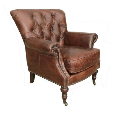 Lauren Leather Tufted Club Chair - The Lauren leather club chair is a cigar color lightly distressed club chair in button tufted leather. The comfortable Lauren chair is elegant and comfortable.  It is beautifully crafted from a durable, sustainable kiln-dried hardwood frame with quality leather upholstery in dark brown.  We love the antique brass nailhead accents and beautiful legs and casters.  The Lauren chair is the perfect depth and width for a truly comfortable seat!  Charlotte and Ivy loves two of these chairs in a sitting room!