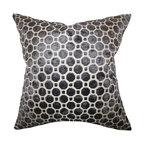 """The Pillow Collection - Kostya Geometric Pillow 18"""" x 18"""" - For a sleek urban look, adorn your home with this charming throw pillow. Made from 100% high-quality velvet material, this accent pillow features a lovely black hue. Adorned with a geometric pattern, this 18"""" pillow offers the right mix of modern style. Toss this square pillow on your sofa, bed or seat. Made in the USA."""