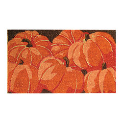 Entryways - Pumpkins Hand Woven Coconut Fiber Doormat - Designed by an artist, this distinctive mat is a work of art that will add a welcoming touch to any home. It is from Entryways' handmade collection and meets the industry's highest standards. This decorative mat is handsomely hand woven and hand stenciled.
