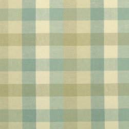 Plaid/Check - Turquoise Upholstery Fabric - Item #1012353-11.