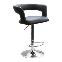 Buffalo Tools - AmeriHome Adjustable Height Bar Stool with Round Back - Adjustable Height Bar Stool with Round Back by AmeriHome The AmeriHome Adjustable Height Bar Stool with Round Back adds a classic element to the kitchen, bar, game room, basement, or shop. The black vinyl seat and mirror-like polished chrome base and footrest let this bar stools blend seamlessly with almost any d?cor.  This bar stool was designed with comfort in mind and featuring a 21.5 inch wide buy 19.5 inch deep, padded vinyl 360 degree swivel seat, a rounded and padded vinyl back rest, a built in footrest, and an adjustable seat height of 24 to 32 inches. All features than make these stools comfortable for kids and adults. Padded seat and rounded back rest for maximum comfort Adjustable seat height from 24 to 32 in. Maximum seat back height of 40 in. 21.5 in. W  by 19.5 in. D vinyl padded 360-degree swivel seat 265 lbs weight capacity Sold Individually