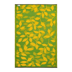 Fab Habitat - Indoor/Outdoor Bali Rug, Lemon Yellow & Moss Green, 3x5 - This pretty all-weather rug is woven from straws made of recycled plastic. Washable and mildew resistant, it's ideal for the deck, the playroom, the beach — anywhere you want good looks and easy care. For a dramatic change, flip it over and see the pattern in reverse. Comes with its own tote bag, for convenient transport or storage.