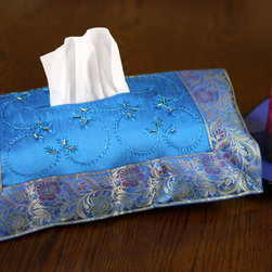 "Tissue Box Covers - Colorful ""Ocean Blue"" hand embroidered tissue box cover. Transform your ordinary Kleenex box to extraordinary!"