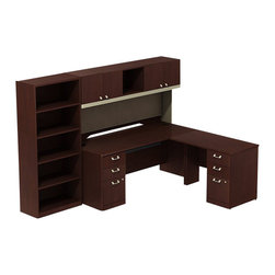 """BBF - BBF Quantum 72"""" RH Pedestal L-Desk with Hutch and 5-Shelf Bookcase - BBF-Commercial Grade Office-QUA011CSR-Artfully designed Quantum never goes out of style. Arrange it for basic small-footprint configurations or expand and accessorize for more complex needs. The BBF Quantum Harvest Cherry 72"""" W x 30""""D RH L-Station with Hutch Two 3-Drawer Pedestals (B/B/F) and 5-shelf Bookcase offers style and storage for any office. Its """"L"""" configuration takes up minimal floor space. Accepts CPU Holder next to pedestal for convenience. Dual pedestal returns have a total of four box drawers for miscellaneous supplies and two file drawers for letter-or Legal-Zize files. Central lock keeps bottom two drawers secure. Hutch has four enclosed compartments and one open center section. Fabric tack board holds pictures notes and more. Hutch storage is pre-Drilled to accept optional task light accessory-accessories are sold separately. Wire management keep work surfaces clean of cables and cords. Extruded aluminum door and drawer pulls are solid and stylish. 5-Shelf Bookcase features three adjustable shelves for storage flexibility of odd-size manuals and two fixed shelves for stability. Thermally fused laminate surface resists scratches and stains while durable edge banding protects against dings and dents. Includes BBF Limited Lifetime warranty is American made and GSA approved."""