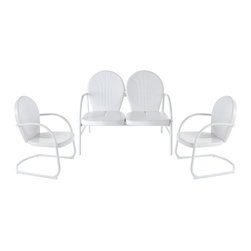 Crosley - Griffith 3-Piece Metal Outdoor Conversation Seating Set in White - Griffith 3 Piece Metal Outdoor Conversation Seating Set - Loveseat and 2 Chairs in White Finish