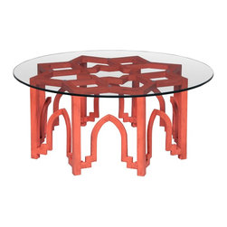 Timeless Classics Marrakesh Coffee Table - Marrakesh Coffee Table features an open frame base in Persimmon Red finish with glass top.