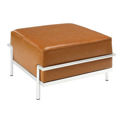 """LexMod - Charles Grande Ottoman in Tan - Charles Grande Ottoman in Tan - Urban life has always a quandary for designers. While the torrent of external stimuli surrounds, the designer is vested with the task of introducing calm to the scene. From out of the surging wave of progress, the most talented can fashion a forcefield of tranquility. Perhaps the most telling aspect of the Charles series is how it painted the future world of progress. The coming technological era, like the externalized tubular steel frame, was intended to support and assist human endeavor. While the aesthetic rationalism of the padded leather seats foretold a period that would try to make sense of this growth. The result is an iconic sofa series that became the first to develop a new plan for modern living. If previous generations were interested in leaving the countryside for the cities, today it is very much the opposite. If given the choice, the younger generations would rather live freely while firmly seated in the clamorous heart of urbanism. The Charles series is the preferred choice for reception areas, living rooms, hotels, resorts, restaurants and other lounge spaces. Set Includes: One - Le Corbusier LC3 Ottoman Mid-Century Modern Ottoman, Genuine Leather Seating Surface, Tubular Stainless Steel Frame, Foot caps to prevent scratching, Tufted seat and back with buttons Overall Product Dimensions: 22""""L x 28""""W x 15.5""""H - Mid Century Modern Furniture."""