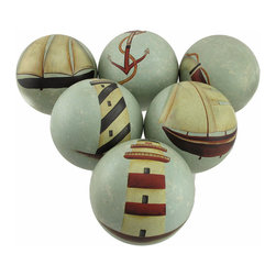 Zeckos - Set of 6 Antiqued Nautical Theme Decorative Ceramic Balls 4 in. Diameter - This beautiful ceramic set of nautically themed decorative balls will look wonderful in a basket or bowl on your table The 6 balls measure 4 inches in diameter, have an antiqued finish, and feature lighthouses, ships, life rings and anchors. They make a great gift.
