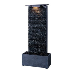 Kenroy Home - Kenroy Home Bedrock Falls Table/Wall Fountain, Natural Grey Slate - 50282GYSL - The natural wonders of slate are showcased in these artfully crafted fountains. The beauty of moving water over slate will transform any space into a retreat.