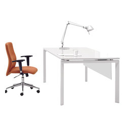 """Jesper - Jesper - 500 Collection - Professional Work Desk 60"""" - White Lacquer - Versatile and functional, this Collection complements nearly any contemporary office setting, bringing visual unity and calm. A simple set of elements can be combined in nearly limitless ways creating an advanced system that allows you to work individually or collectively. Versatile workstations can be designed in a variety of spaces and they offer the kind of technological integration needed in the modern workplace today."""