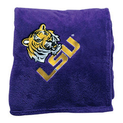 Collegiate Delight - Louisiana State Throw - Collegiate embroidered throws are essential components of every season. These officially licensed products make perfect gifts.