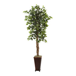 "Nearly Natural - Nearly Natural 6.5' Ficus with Decorative Planter - When you choose an artificial tree as a decor piece, you want it to be lifelike, and you want it to be bold. That's exactly what this Ficus tree is - it's tall (78"" - that's six and a half feet!), it's lifelike (with several trunks and more than 750 silk leaves), and boy is it beautiful, and even includes a decorative planter. Buy one for the home, and another for the office. Makes a fine gift as well."