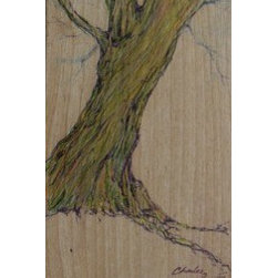 """Tree On Wood"" (Original) By Charles Landholm - I Have Always Loved Trees. My Brother Is A Finish Carpenter And I Always Raid His ""Trash"" For Nice Pieces Of Wood That ""Speak"" To Me."