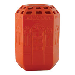 Selectives - 12.5-Inch Tall House Decorative Vase - Liven up your home with this eye catching orange vase.  The house design that wraps around the body  gives it a touch of uniqueness.  This will definitely elevate your home décor to the next level.
