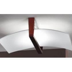 """Linea Light - Wood ceiling lamp 90115 - Product description:    The Linea Light Wood ceiling lamp is designed and produced in Italy. This lamp consists  of a wengé wood fitting and decorations as well as a white silk-screened sandblasted  glass.        Details:                                                                    Manufacturer:               Linea Light                                  Made in:              Italy                                  Dimensions:               Width: 20.47"""" (52 cm)      Height: 18.5"""" (47 cm)                                      Light bulb:               200W R7s double ended Halogen - not in.                                  Material               wengé wood, glass"""