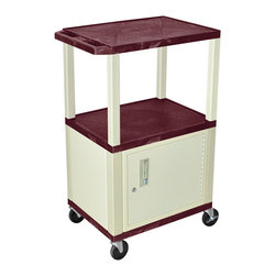 Luxor - H Wilson Presentation Cart - WT42BYC3E - H Wilson's WT Tuffy multi-purpose carts are made of high density polyethylene structural foam injection molded plastic shelves and legs that will not chip, warp, crack, rust or peel. Shelves and legs can be recycled.