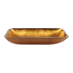 Kraus - Kraus Golden Pearl Rectangular Glass Vessel Sink - *This rectangular glass vessel sink is a fusion of elegance and modern