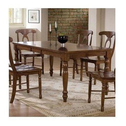 Winners Only - Pelican Point Leg Dining Table w Leaf - Chairs sold separately. Rectangular shape. One 15 in. butterfly leaf. Derby brown finish. Minimum: 36 in. L x 60 in. W x 30 in. H. Maximum: 36 in. L x 75 in. W x 30 in. H