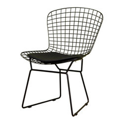 Baxton Studio - Bertoia Black Style Wire Side Chair - Though at first glance this may seem like a skeleton of a chair  a stripped-down, barebones design  the minimal nature of this side chair is an asset for any lover of modern furniture. The frame of this contemporary side chair is entirely of black-coated steel and is topped with a black vinyl seat pad that you will be able to secure to the frame with the Velcro strips. The steel legs are completed with black plastic clips to protect your flooring and stabilize the chair. Assembly is required.