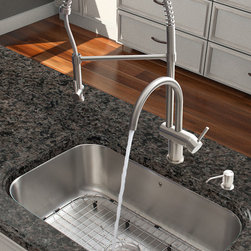 Vigo Industries - Stainless Steel Kitchen Sink and Faucet - Includes soap dispenser, spray face, matching bottom grid, sink strainer, all mounting hardware and hot/cold waterlines. Corrosion and tarnishing resistance. Sink is fully undercoated and padded. Commercial grade premium scratch resistant. Multi layer sound eliminating technology which also prevents condensation. Kitchen sink is cUPC and NSF 61 certified by IAPMO. Kitchen faucet features spiral pull down spray head for powerful spray and separate spout for aerated flow. Resists mineral buildup and is easy to clean. High quality ceramic disc cartridge. Retractable 360 degree swivel spout expandable up to 20 in.. Single lever water and temperature control. Water pressure tested for industry standard. 2.2 GPM flow rate. Standard US plumbing 0.375 in. connections. Kitchen faucet is cUPC, NSF 61, and AB1953 certified by IAPMO. Faucet is ADA compliant. Dispenser featured with protective bumpers. Two hole installation with soap dispenser. Warranty: Lifetime limited. Made from solid brass and vinyl. Chrome and satin color. Sink Exterior: 30 in. W x 18 in. D x 9.25 in. H. Sink Interior: 28 in. W x 16 in. D x 9.25 in. H. Sink required interior cabinet space: 30 in.. Faucet height: 25 in.. Faucet spout reach: 8.625 in.. Faucet sprayer reach: 12 in.. Dispenser opening: 1.5 in.. Dispenser spout projection: 3.5 in.