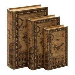 """Benzara - Set of 3 """"Rome"""" Library Storage Books - Wood Book Box 13"""", 11"""", 9""""H - Set of 3 """"Rome"""" Library Storage Books - Wood Book Box 13"""", 11"""", 9""""H. Some assembly may be required. Made with hollowed wood. Size - 9""""x3""""x13"""""""