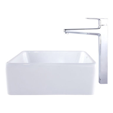 Kraus - Kraus C-KCV-120-15500BN White Square Ceramic Sink and Virtus Faucet - Add a touch of elegance to your bathroom with a ceramic sink combo from Kraus