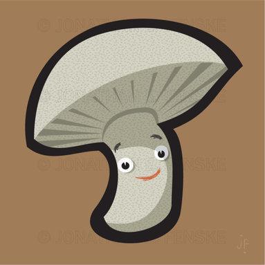 Happy Mushroom in Brown Modern Art Canvas -