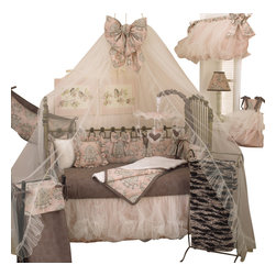 Cotton Tale Designs - Nightingale 7pc Crib Bedding Set - Nightingale 7pc crib bedding set is absolutely breath-taking and beautiful, creating a soft classic nursery with cotton percale bumper in subtle pink, gray and charcoal.