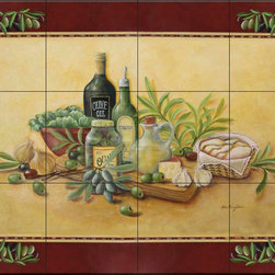 The Tile Mural Store (USA) - Tile Mural - Tuscan Bounty With Border - Kitchen Backsplash Ideas - This beautiful artwork by Rita Broughton has been digitally reproduced for tiles and depicts olive oil and olives in a jar with grapes and garlic  Our kitchen tile murals are perfect to use as part of your kitchen backsplash tile project. Add interest to your kitchen backsplash wall with a decorative tile mural. If you are remodeling your kitchen or building a new home, install a tile mural above your stove top or install a tile mural above your sink. Adding a decorative tile mural to your backsplash is a wonderful idea and will liven up the space behind your cooktop or sink.