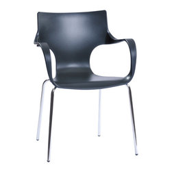 EzMod - Phin Chair Set of 2, Black - Plastic chair with chromed legs. Enjoy this versatile easy to maintain chair all around your home or business. Great colors, and conveniently stackable.