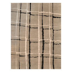 Loloi Rugs - Loloi Rugs HERMHE-11SIBL2030 Hermitage Silver-Black Hand Knotted Rug - The hand-knotted Hermitage Collection marries wool with a silk/viscose blend, for a luxurious selection of transitional designs that are more moderately priced than similar pieces made from wool and silk.