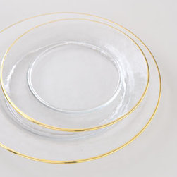 "Horchow - Four Gold-Rimmed Salad Plates - Clear glass plates are hand painted with 24-karat yellow gold around outer rim. Hand wash. Dinner plate, 11""Dia. Salad plate, 8.5""Dia. Imported."