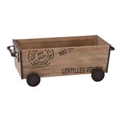 Benzara - Wood Metal Cart 22in.W, 8in.H Unique Home Accents - Made with treated wood and iron alloy Size: 22 in. x9 in. x8 in.