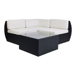 "Consigned Modani Woven Synthetic Rattan Outdoor Sectional - Price Reduced! Modani's stainless steel legs and aluminum frame are weather-resistant and always rust free! The modern modular pieces are easy to move, making them perfect for choosing the ideal amount of designer decor for any outdoor excursion. Soft and stylish hand-woven rattan covers the contemporary pieces in a comfortable lining.  The set comes complete with an armless chair and 2 corner chairs. Sip a cold cocktail while sinking into the plush cushions of this outdoor set. Modani makes soaking up the sun feel like an all expense paid vacation!  Includes 2 armless chairs, 1 corner chair and one cocktail table with glass top measuring 29"" x 29"" x 16"".  Cushions show environmental wear. Full, running, linear length of the set when put together is 115"". Seat height is 17""."