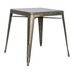 Chintaly Imports - Gun Metal Galvanized Steel Dining Table - Galvanized Steel Indoor and Outdoor square table. Approved for commercial use.