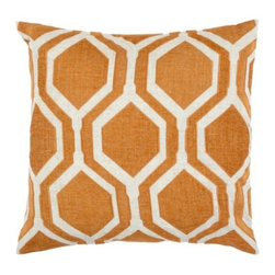 "Z Gallerie - Pandora Pillow 24"" - Inspired by the graphically repetitive shape of a honeycomb, our Pandora Pillow boldly defines our interpretation of a chic geometric print. Making for a dimensionally striking pillow, saturate hues juxtaposed atop a white background form the clean-lines of the geometrically repetitive pattern adorning our Pandora Pillow. The generously sized 24 inch square pillow is filled with a sumptuous feather and down insert and a hidden zipper. Available in five unique colors; Grey, Mandarin, Sand, Jade and Gold."