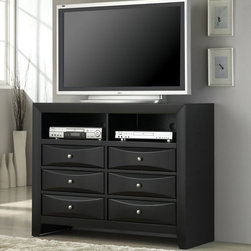 Coaster - Briana Media Chest / TV Dresser - All pieces in the Briana Collection have a glossy black finish with bevelled drawer fronts, accented with brushed chrome hardware.