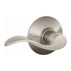 Schlage - Accent Satin Nickel Hall and Closet Lever - F - Manufacturer SKU: F10 ACC 619. Handle Type: Lever. Non-locking interior for use on hall or closet. All Metal Chassis for Strength and Durability. Universal lever works for right or left handed doors. Limited Lifetime Mechanical and Finish Warranty. Coordinate with other Accent Satin Nickel products. High quality materials and construction used for a longer life and brilliant finish. Designed for standard door prep (fits existing pre-drilled holes). 2.3 in. L x 4.9 in. W x 2.8 in. H (1.5 lbs)