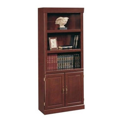 Sauder - Heritage Hill Bookcase w Doors in Classic Che - 3 Shelves. Enclosed back with cord access and raised panel doors that feature bright, Brass-finish hardware. Made of engineered wood. Assembly required. 30 in. W x 13 in. D x 71 in. H