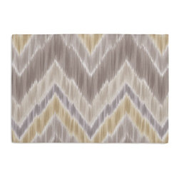 Gray & Yellow Large Ikat Chevron Custom Placemat Set - Is your table looking sad and lonely? Give it a boost with at set of Simple Placemats. Customizable in hundreds of fabrics, you're sure to find the perfect set for daily dining or that fancy shindig. We love it in this giant ikat chevron in pastel grays & yellows on smooth sateen. this flamestitch will set your decor ablaze.