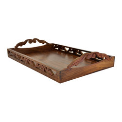 SouvNear - SouvNear Wooden Handmade Ottoman Serving Tray with Carved Wings Latticework - * All solid rosewood tray, including the base and handles finished to perfection - good for a lifetime!