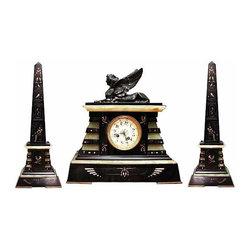 Garniture Empire Black & Green Clock 3 Piece Set - Height: 16.5 in. (41.91 cm)