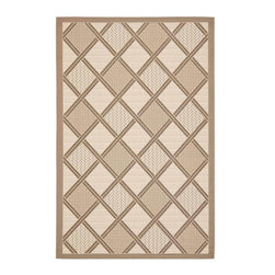 """Safavieh - Courtyard Rug, Beige/Dark Beig, 5' 3"""" x 7' 7"""" - Safavieh takes classic beauty outside of the home with the launch of their Courtyard Collection. Made in Belgium with enhanced polypropylene for extra durability, these rugs are suitable for anywhere inside or outside of the house."""