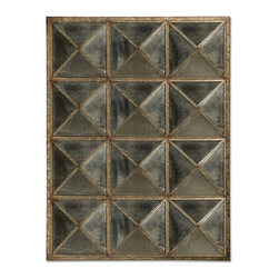 Howard Elliott - Howard Elliott Quinn Antique Mirror - This Traditional Mirror features a unique window pane effect. It is made up of triangular panels of antique smoked glass with a frame work finished in mottled silver and verde with an all over faux rust effect.