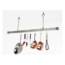 "Enclume - Premier 60 Inch Offset Hook Ceiling Pot Rack, Stainless Steel - Dimensions: 60""L x 20""H"