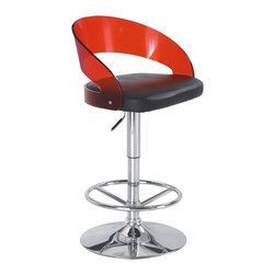 Global Furniture USA - M208BS Red Acrylic & Black PVC Adjustable Bar Stool Set of Two - The M208BS bar stool features a unique modern design that will look good with any setting. This stool comes upholstered in a beautiful black leatherette material on the seat. The backing is crafted from an acrylic mold and comes in a clear red finish. The base is made of chromed metal and features height adjustment hydraulic. The price shown includes two stools only.