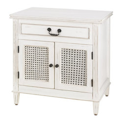 Currey & Company - Swinsty Cabinet - Reminiscent of southern plantation style furniture, this comely cabinet is casual and simple. The swinsty Cabinet is finished in an effortless Distressed White with bronze pulls and airy woven door panels. For everyday care, dust with a clean, dry cloth. Wipe spills immediately with soft dry cloth. Always use coasters or mats. Never place cups, glasses or anything hot directly on the surface. This could cause discoloration.